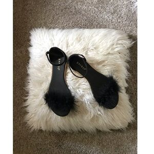 Black & Gold Fur Sandals